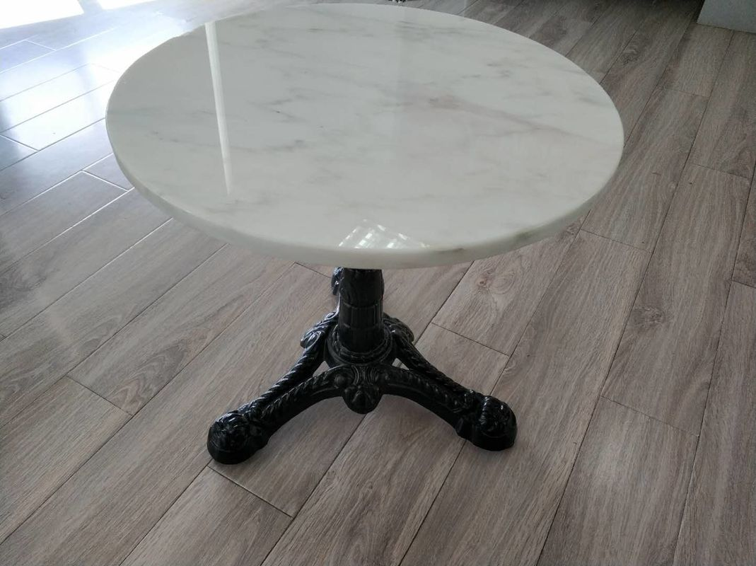 "Black Modern Side Metal Table Legs Diameter 3"" Column With White Marble Top"